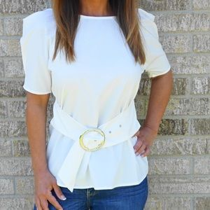 Tops - Puff sleeve top with ring belt